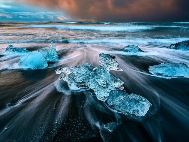 Wallpaper beach, sea, ice, iceland, black sand, volcanic beach, volcanic sand
