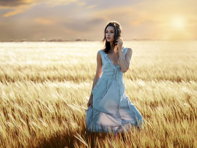 Wallpaper model, brunette, field, girl, dress, white dress