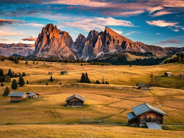 Wallpaper italy, mountains, field, nature, home, beauty, dolomite alps